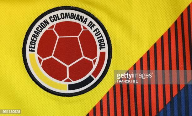 Picture taken on April 25, 2018 in Paris, shows the jersey of the Colombian national football team for the FIFA 2018 World Cup football tournament.
