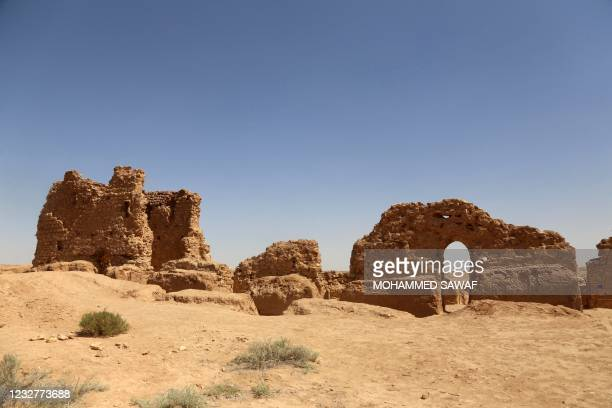 Picture taken on April 25 shows a view of the Al-Aqiser archeological site in Ain Tamr near Karbala in Iraq, which includes what has been described...