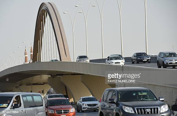 A picture taken on April 26 2016 shows a cable bridge that was newly built in the Saudi capital Riyadh Deputy Crown Prince Mohammed bin Salman...