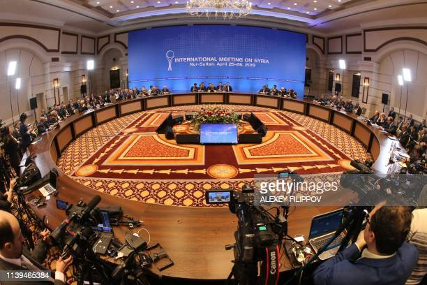 A picture taken on April 26 2019 shows a general view of the hall where the Syrian constitutional committee takes place in NurSultan Kazakhstan...