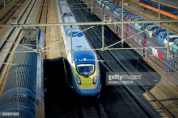 A picture taken on April 28 2016 shows a Eurostar train arriving at Roosendaal station in Roosendaal Train manufacturer Siemens and Dutch train...