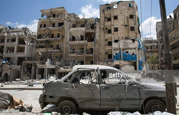 A picture taken on April 28 2016 shows a general view of the damaged AlQuds hospital building following reported airstrikes on the rebelheld...