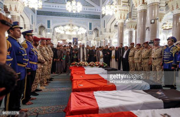 A picture taken on April 28 2018 shows a view of the funeral of slain Huthi leader Saleh alSamad and his six body guards at a mosque in the Yemeni...