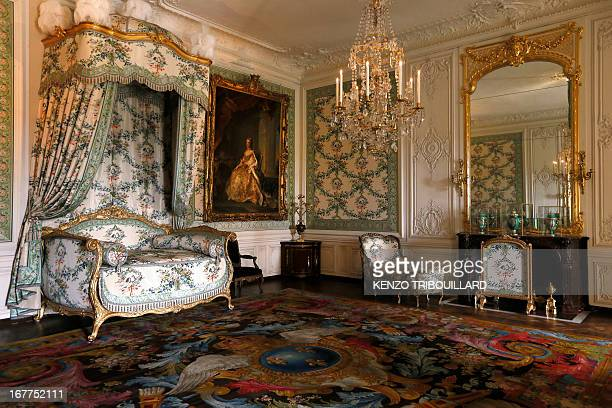 CHENEBENOIT A picture taken on April 29 2013 shows the bedroom of Madame Victoire at the Chateau de Versailles This room is part of the newly...