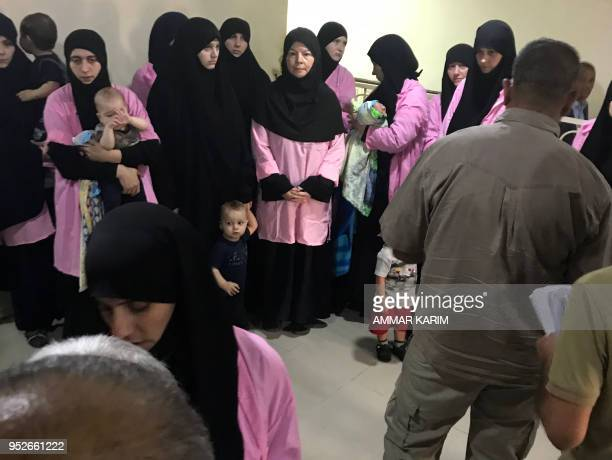TOPSHOT A picture taken on April 29 2018 in the Iraqi capital Baghdad's Central Criminal Court shows Russian women who have been sentenced to life in...