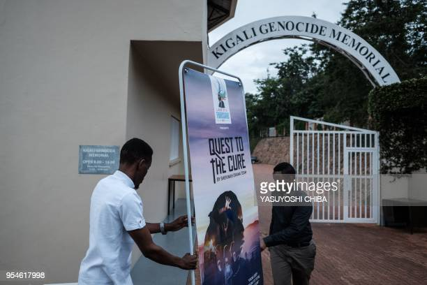 A picture taken on April 29 2018 shows members of Shekinah Drama Team of Evangelical Restoration Church preparing a signboard for their play Quest to...