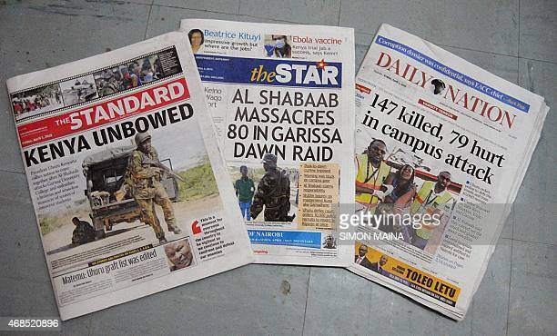A picture taken on April 3 2015 shows the frontpages of local newspapers featuring headlines and pictures reporting the attack that occured a day...