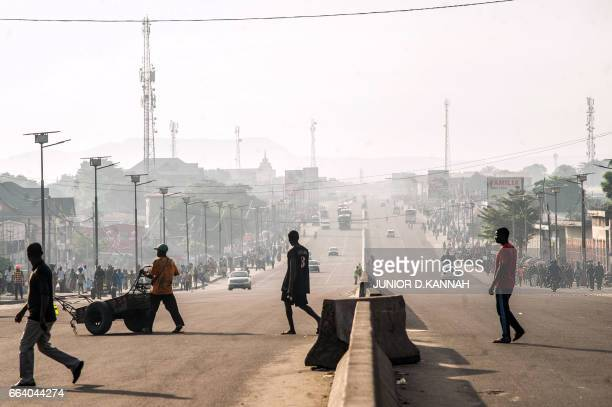 A picture taken on April 3 2017 shows few cars on the Lumumba boulevard in Kinshasa during a general strike called by the opposition A general strike...