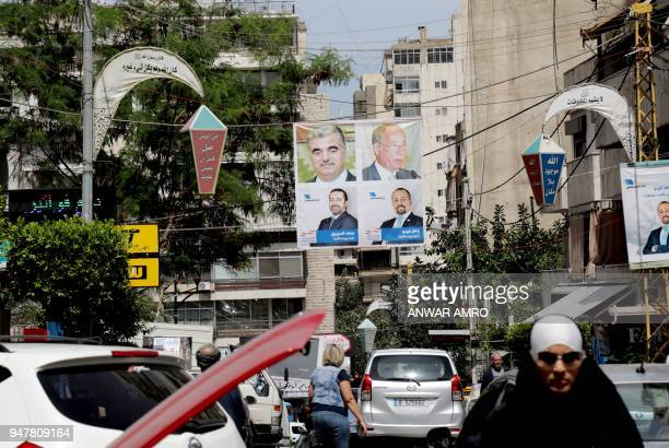 A picture taken on April 3 2018 shows campaign poster for Lebanese Prime Minister Saad Hariri for the upcoming Lebanese parliamentary election...