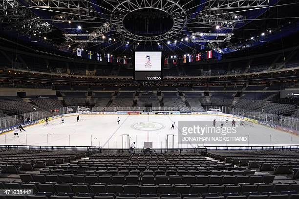 Picture taken on April 30 2015 shows a general view of the O2 Arena in Prague one of the two venues of the IIHF International Ice Hockey World...
