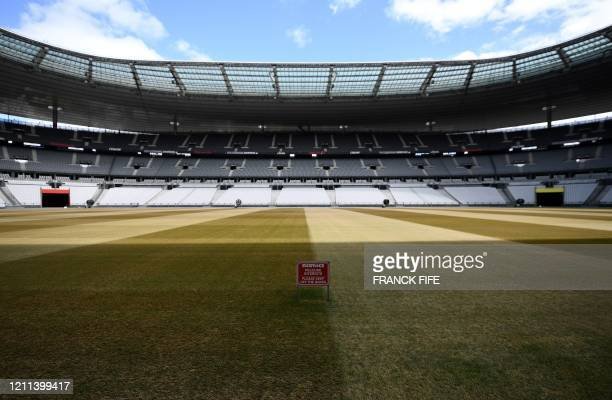 "Picture taken on April 30, 2020 shows the lawn in repair of the ""Stade de France"" in Saint-Denis, north of Paris on the 45th day of a lockdown aimed..."