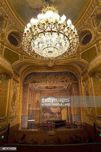 A picture taken on April 30 shows the Sheikh Khalifa bin Zayed Al Nahyan Theatre of the Fontainebleau palace south of Paris The 400seat Sheikh...