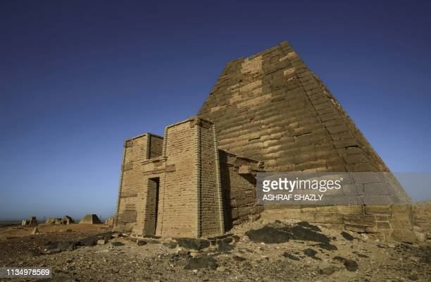 A picture taken on April 4 2019 shows a partial view of the Meroe pyramids which hold burial chambers for Kushite kings and queens whose rule spanned...