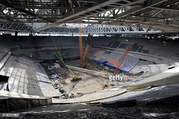 A picture taken on April 5 2016 shows the construction site of the new football stadium in St Petersburg St Petersburg will host matches during the...