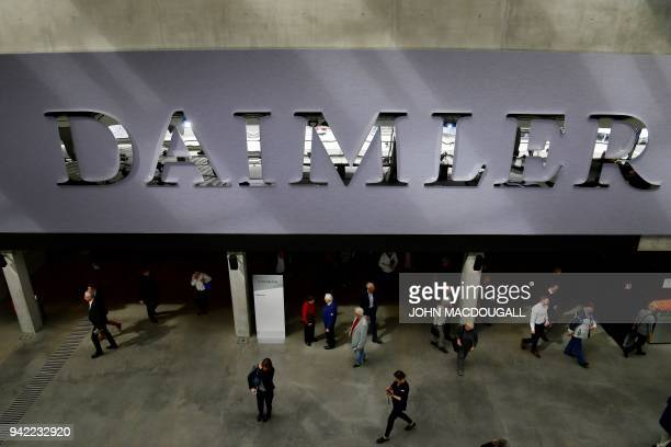 A picture taken on April 5 2018 shows a view of the main entrance of the German luxury car manufacturer Daimler's annual general meeting in Berlin /...