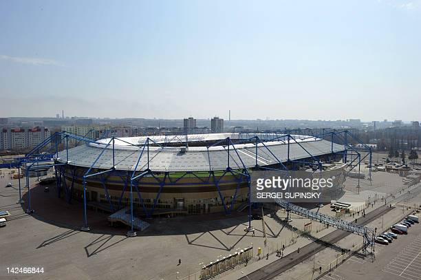 A picture taken on April 5 shows a general view of the Metalist Stadium in Kharkiv one of four Ukrainian cities hosting the EURO2012 football...