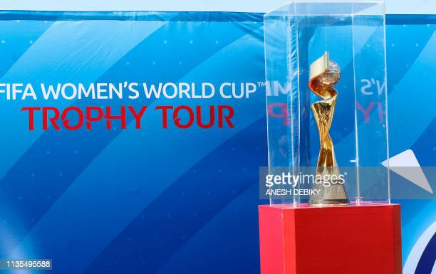 A picture taken on April 7 2019 shows the Women's World Cup trophy during the FIFA Women's Trophy tour at People's Park in Durban South Africa ahead...