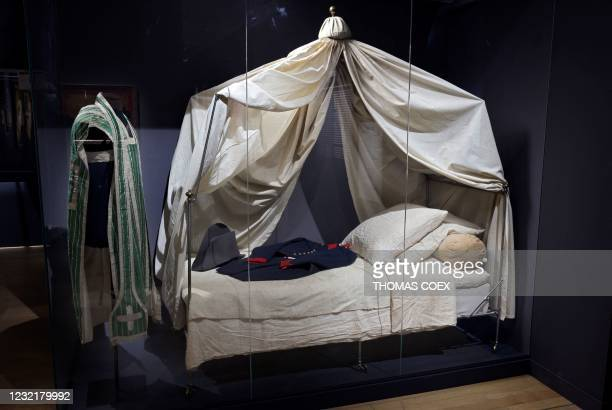 Picture taken on April 7 shows a military tent used by French Emperor Napoleon I and displayed at the Army museum at the Hotel des Invalides, in...