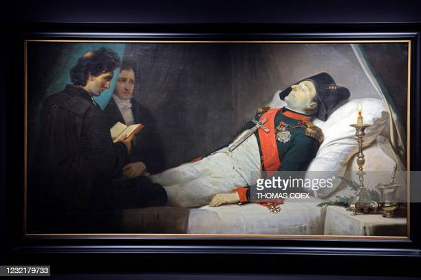 Picture taken on April 7 shows a painting made in 1843 by French artist Jean-Baptiste Mauzaisse depicting French Emperor Napoleon I on his death bed,...
