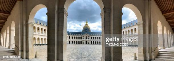 Picture taken on April 7 shows a panoramic view of the honour yard of the Hotel des Invalides, where the French Emperor Napoleon I is buried in...