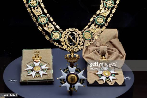 Picture taken on April 7 shows the Grand neckless of the legion of honour worn by French Emperor Napoleon I and exhibited at the Army museum at the...