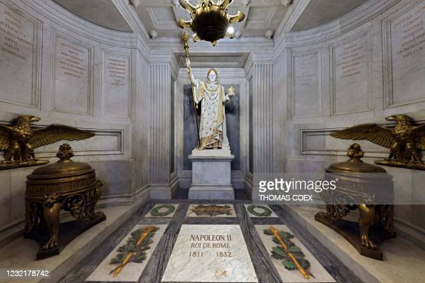 Picture taken on April 7 shows the tomb Napoleon II, aka King of Rome, son of of French Emperor Napoleon I, with a Statue depicting Napoleon...