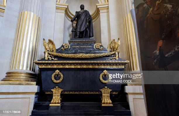 Picture taken on April 7 shows the tomb of Jerome Napoleon, brother of French Emperor Napoleon I, under the dome of the Hotel des Invalides, in...