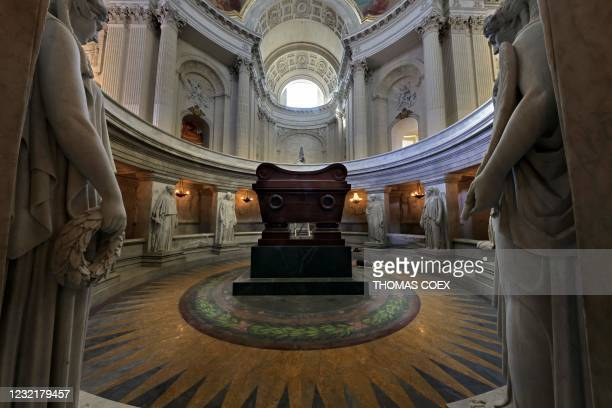 Picture taken on April 7 shows the tomb of late French Emperor Napoleon I, where his body was finally deposited in 1861 under the dome of the Hotel...