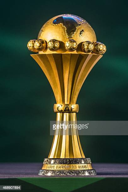 A picture taken on April 8 2015 shows Africa Cup of Nations trophy ahead of the draw for the 2017 CAN qualifiers in Cairo The CAF announced that...