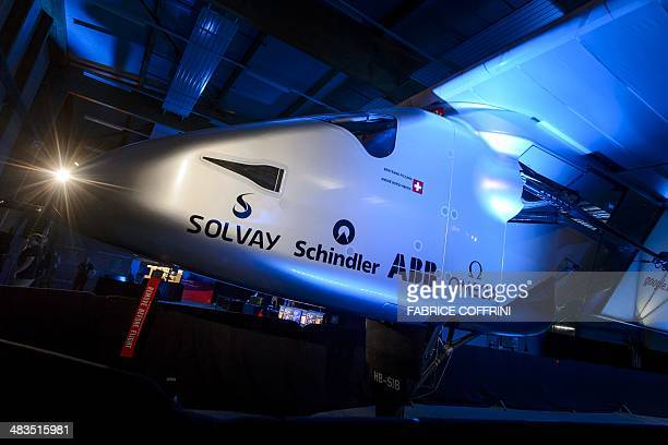 A picture taken on April 9 2014 shows the second Solar Impulse experimental solarpowered plane the HBSIB to be used for a roundtheworld voyage next...