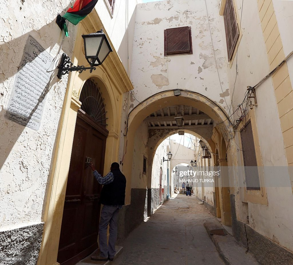 A picture taken on April 9, 2015 shows the building which used to house the first diplomatic French mission to Libya in the Old City of the capital Tripoli. In 2001 the building was renovated by the state and turned into a cultural centre called Dar Hassan al-Faqih Hassan. In the second world war, the French sold this house to a local resident, and the French consulate moved to an area outside the old city.