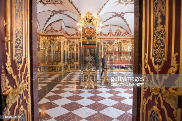Picture taken on April 9 2019 shows the Jewel Room one of the rooms in the historic Green Vault at the Royal Palace in Dresden eastern Germany A...