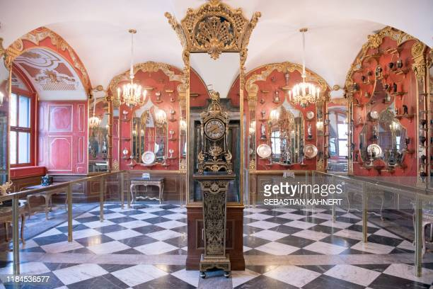 Picture taken on April 9 2019 shows the White Silver Room one of the rooms in the historic Green Vault at the Royal Palace in Dresden eastern Germany...