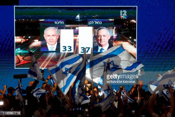 TOPSHOT A picture taken on April 9 shows supporters of the Blue and White political alliance watching a tv poll on a screen at the alliance...