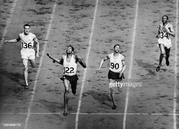 Picture taken on August 05 1948 of the final of the men's 400m athletics event won by Jamaican Arthur Wint in front of Jamaican Herbert McKenley and...