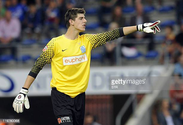 A picture taken on August 1 2010 shows Belgian football club KRC Genk goalkeeper Thibaut Courtois at the Fenix Stadium in Genk Belgian champions Genk...