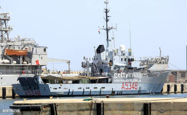 A picture taken on August 10 2017 shows the Italian Navy vessel Tremiti moored at the Tripoli naval base in the Libyan capital Italy the main...