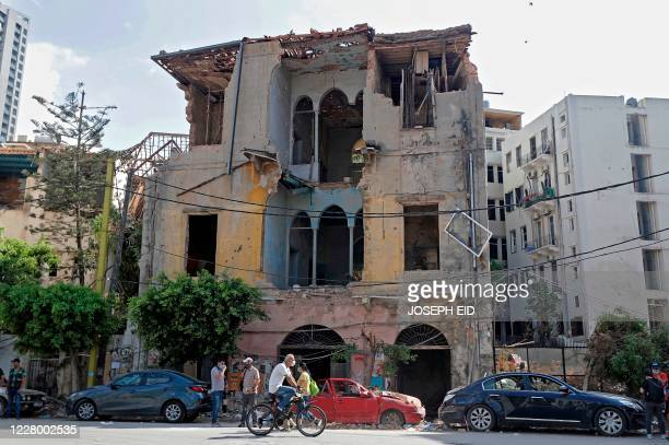 Picture taken on August 11 shows a view of a heavily-damaged traditional Lebanese house due to the Beirut port explosion, in the devastated Gemmayzeh...