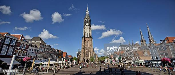 A picture taken on August 12 2013 shows the Nieuwe Kerk in Delft where most members of the royal House of Orange are laid to rest Dutch prince Johan...