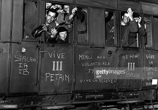A picture taken on August 13 1942 in Macon centraleastern France shows the train transporting the first prisoners freed in the process of the relief...