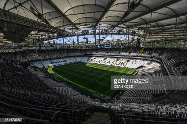 Picture taken on August 13, 2019 in Istanbul shows a general view of Besiktas Park stadium ahead of the upcoming UEFA Super Cup football match...