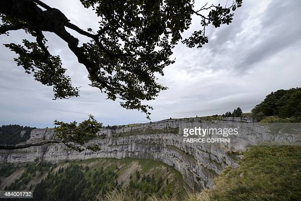 A picture taken on August 14 2015 show the CreuxduVan cliff where Swiss Canton of Neuchatel police found the body of a man and his two young children...