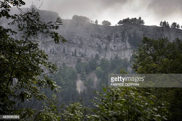 A picture taken on August 14 2015 shows the zone at the bottom of a cliff in CreuxduVan where Swiss Neuchatel canton police found the bodies of a man...