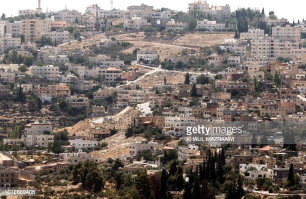 A picture taken on August 14 2018 shows a view of the city of AlSalt about 30 kilometres west of the capital Amman Jordanian security forces...