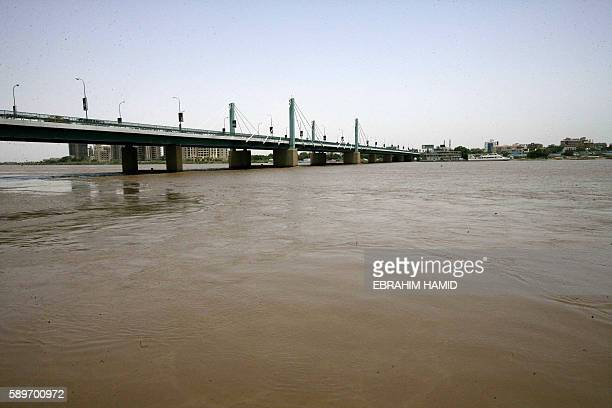 A picture taken on August 15 2016 in the Sudanese capital Khartoum shows the Nile River whose water level has risen after two weeks of heavy rainfall...