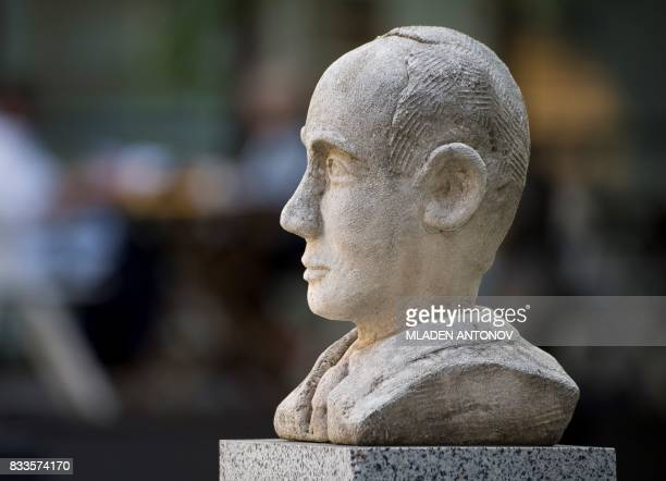 A picture taken on August 15 2017 shows a memorial bust of Swedish diplomat Raoul Wallenberg in Moscow Russia on August 17 2017 set a hearing date...