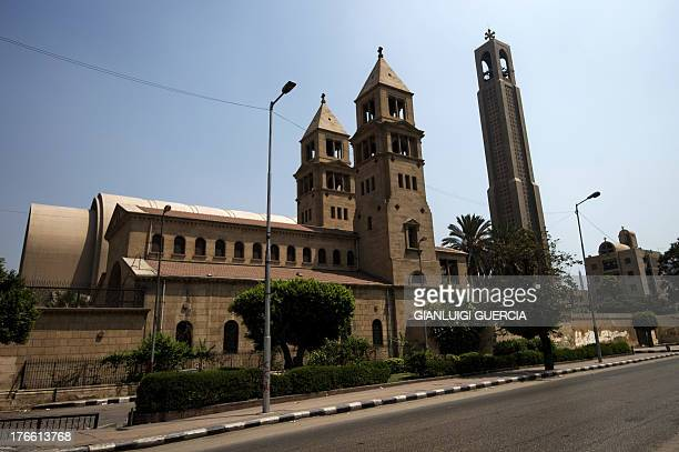 A picture taken on August 16 2013 shows the St Mark's Coptic Orthodox Cathedral in the Abbassia a central neighborhood of Cairo Egypt Egypt's...