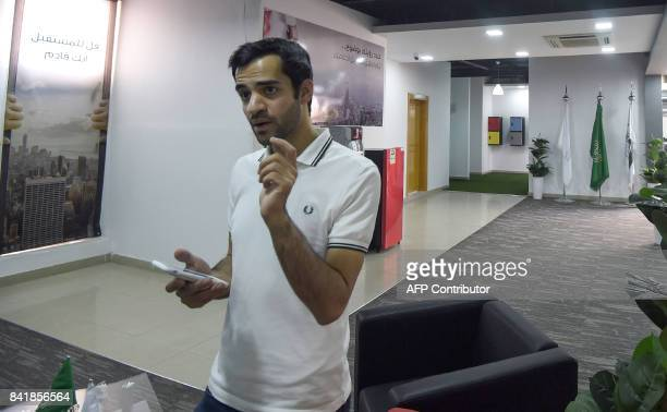 A picture taken on August 17 2017 shows Saudi programmer Zainalabdin Tawfiq developer of the Sarahah app giving an interview with AFP at his office...