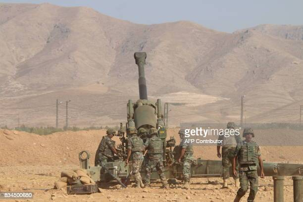 A picture taken on August 17 during a tour guided by the Lebanese army shows soldiers holding a position in a mountainous area near the eastern town...