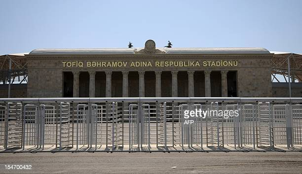 A picture taken on August 17 shows a general view of Tofik Bahramov Stadium the home ground for Neftchi in Baku the capital of Azerbaijan AFP PHOTO/...